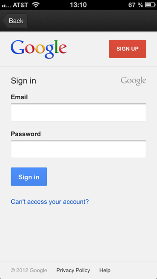Google sign in default fields