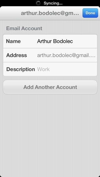 Email account informations