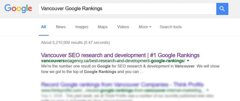 Vancouver Google Rankings