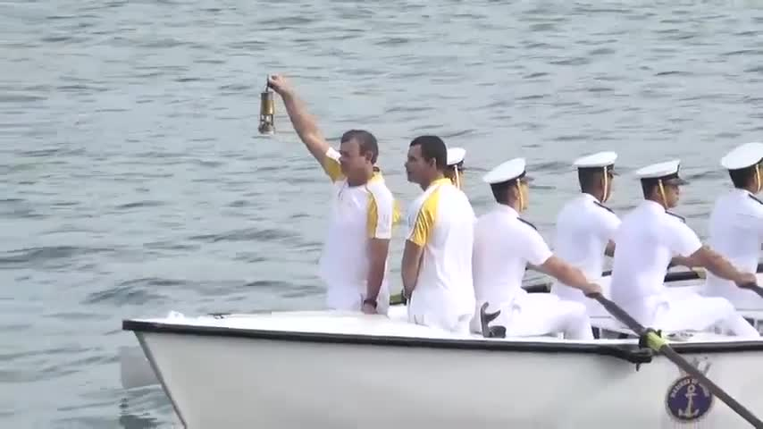 Raw: Olympic torch arrives to Rio by boat
