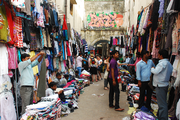 A congested gully lined with shops