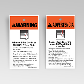 0-112-03-01000 | Chain/Cord Loop Warning Tag (ANSI/WCMA Approved) English & Spanish
