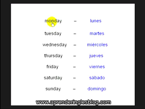 Curso video ingls vocabulario das de la semana