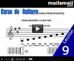 Curso vdeo Guitarra para principiantes. Acordes y escalas (LA mayor-FA# menor)
