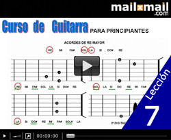 Curso vdeo Guitarra para principiantes. Acordes y escalas (RE mayor-SI menor)
