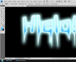 Curso vdeo Texto con efecto de hielo. Photoshop