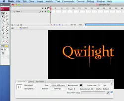 Curso vídeo Flash vídeo-tutorial. Texto Twilight