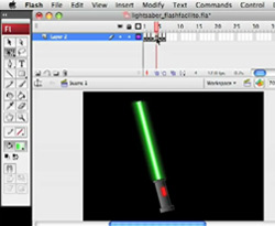 Curso vídeo Flash. Tutorial: dibujo y animación espada Star Wars