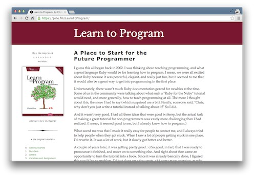 Chris Pine's Learn to Program Ruby book screenshot from the Viking Code School Blog