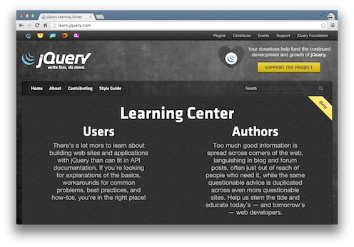Learn.jquery.com resources screenshot from the Viking Code School Blog
