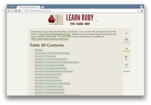 Learn Ruby the Hard Way by Zed Shaw screenshot from the Viking Code School Blog