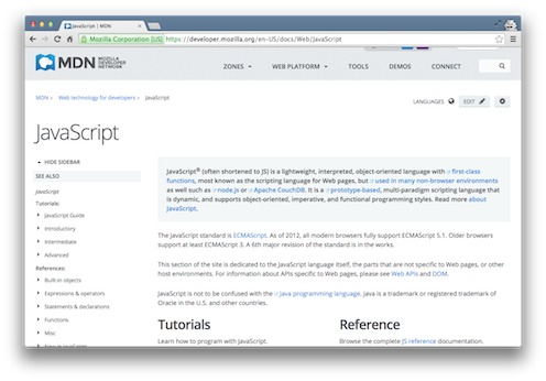 MDN's Javascript documentation screenshot from the Viking Code School Blog