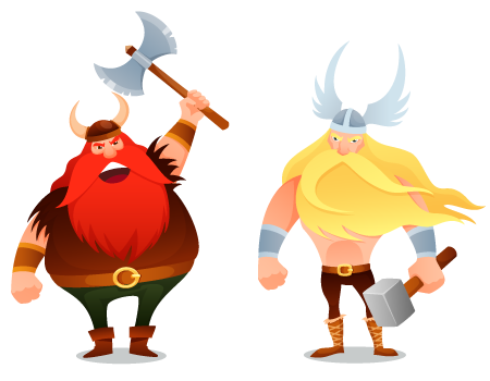 Two viking cartoon warriors