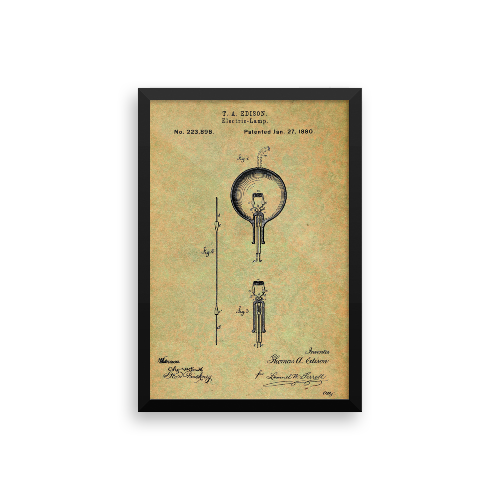 Edison Lamp Patent Poster