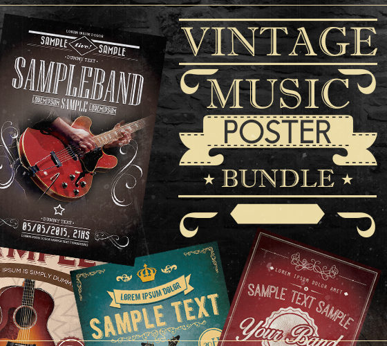 vintalife_concert_poster_template psd