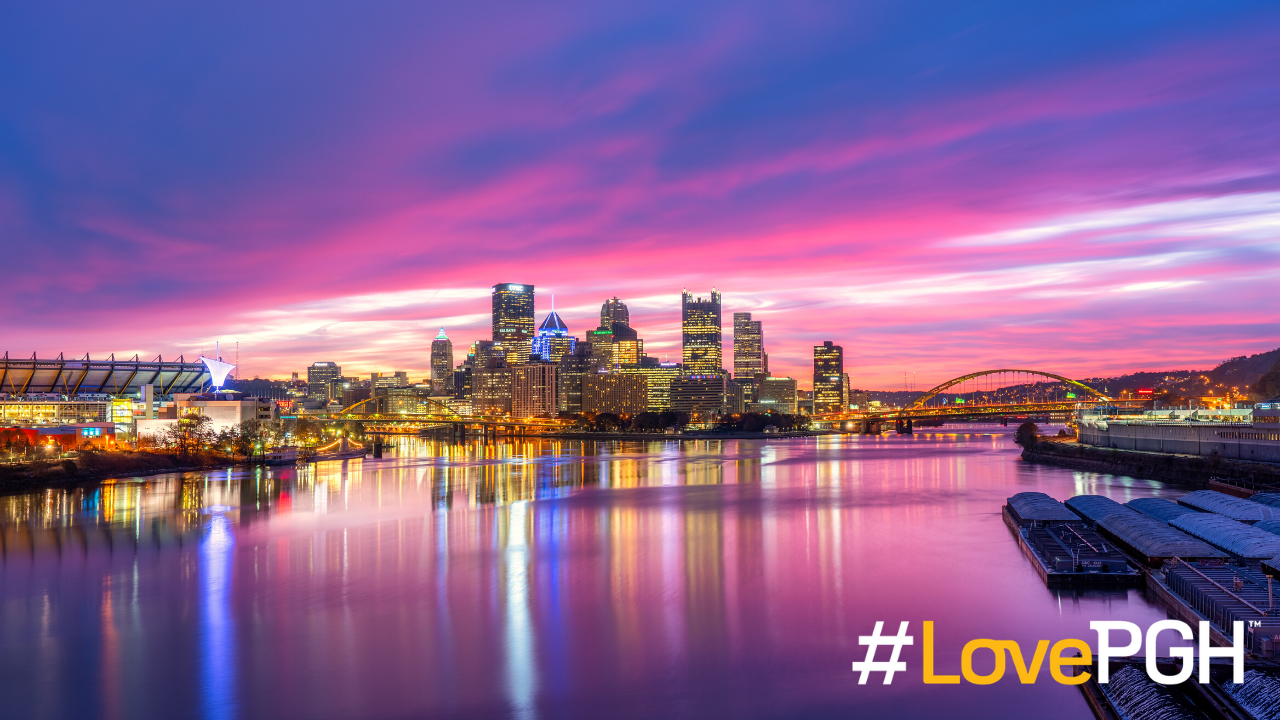 Purple Pittsburgh Skyline