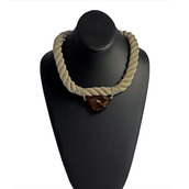 Raw Amber Chocker Necklace on Linen Rope Toffee