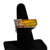 Square Amber Ring in Honey.