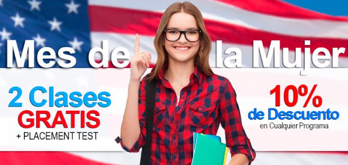 2 CLASES GRATIS + PLACEMENT TEST + 10% DE DESCUENTO EN CUALQUIER PROGRAMA. Sólo para mujeres.