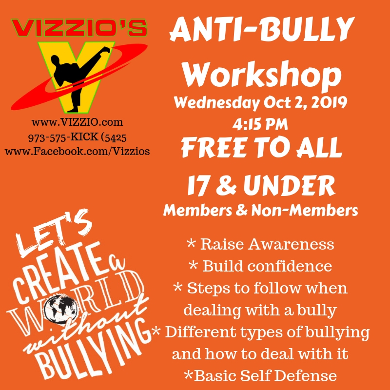 Take the time to educate and we will end the bullying.  In this workshop, we discuss the types of bullies, where we find them, and how to manage them with non-violence.  We will also practice a few self defense techniques just in case of emergency,  Lots of fun with game breaks in between.