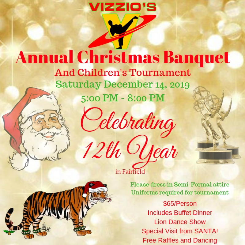 Please join us for our 12th anniversary in the Fairfield location as well as our Annual Kids Tournament with Santa.  Lot's of raffles, lion dance, music, dancing, catered food, and fun.