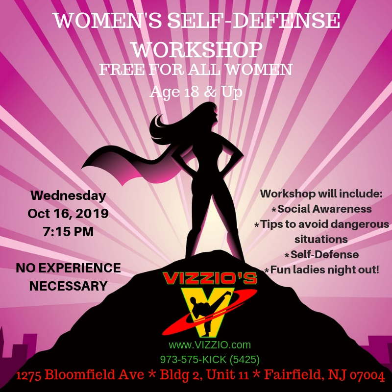 All women should feel safe but that doesn't come easy.  Join us for this amazing Self defense workshop.  No experience necessary.  Women ages 18 & over only.  Lot's of fun and laughs while discussing and practicing how to survive very dangerous situations.  You will love this workshop.  Best of all, it's FREE!