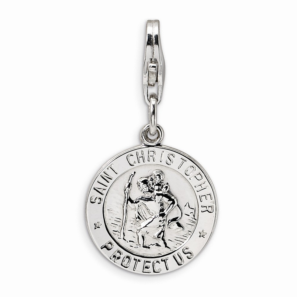 Amore La Vita Sterling Silver St. Christopher Medal With Lobster Clasp Charm