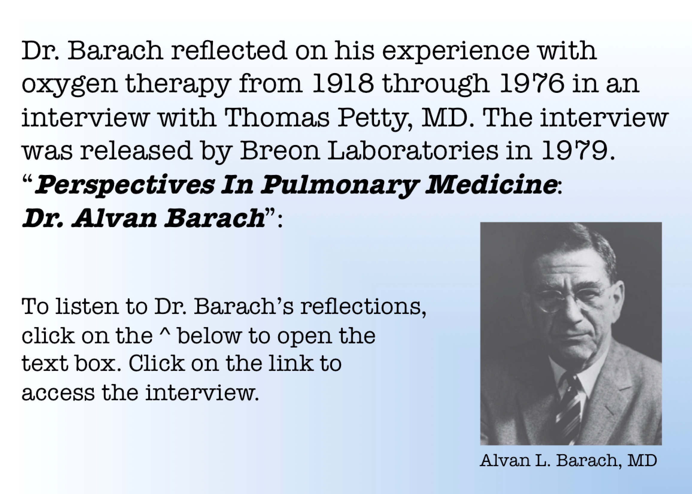 Dr. Barach's Reflections
