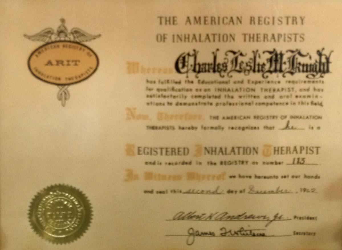 1962  Example of Registry Certificate