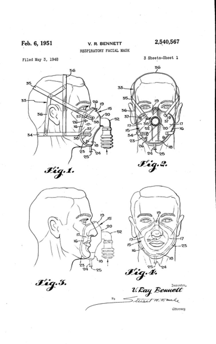 """1948 Bennett's """"Respiratory Facial Mask"""""""