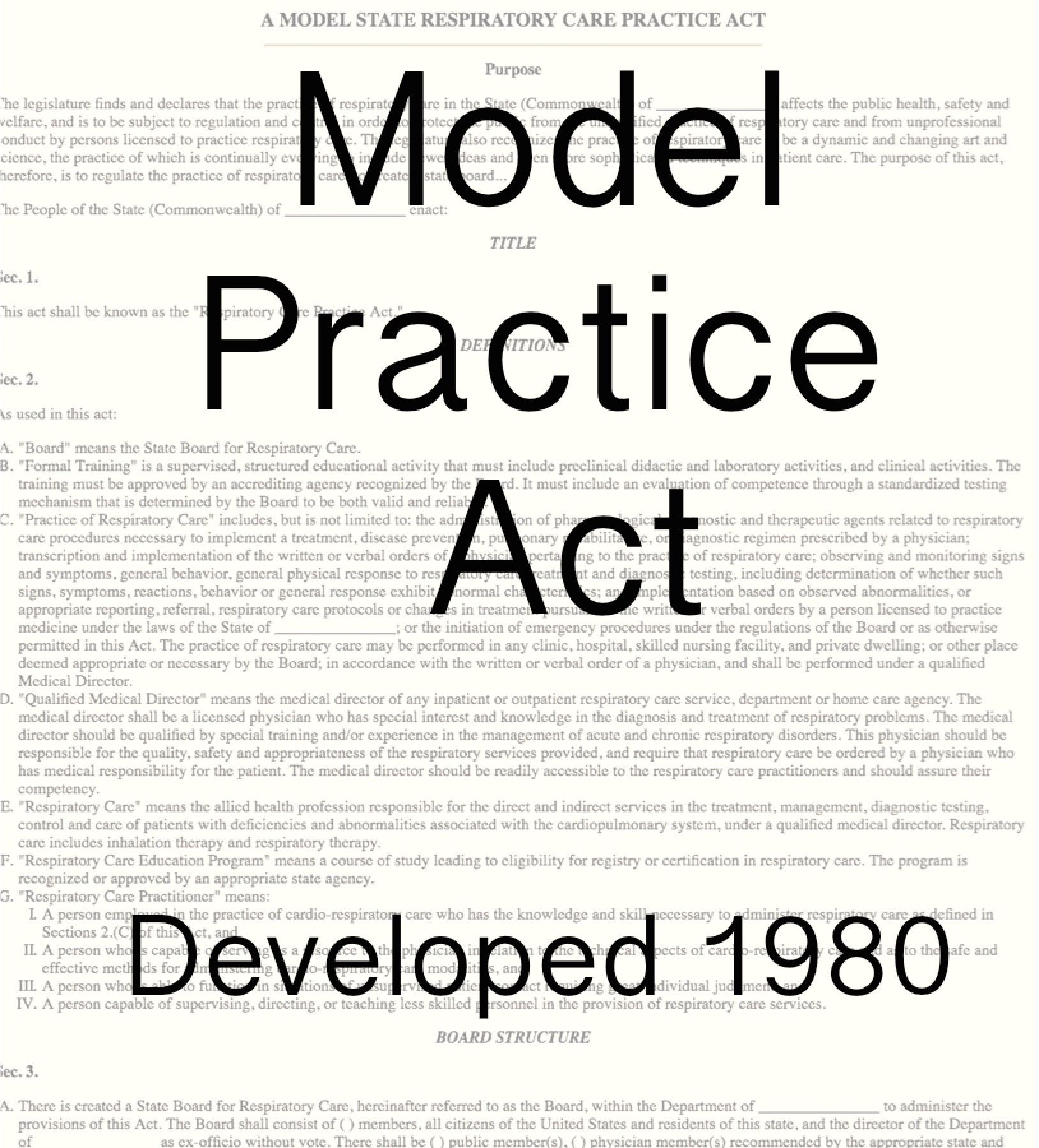 1980 Model Practice Act Developed