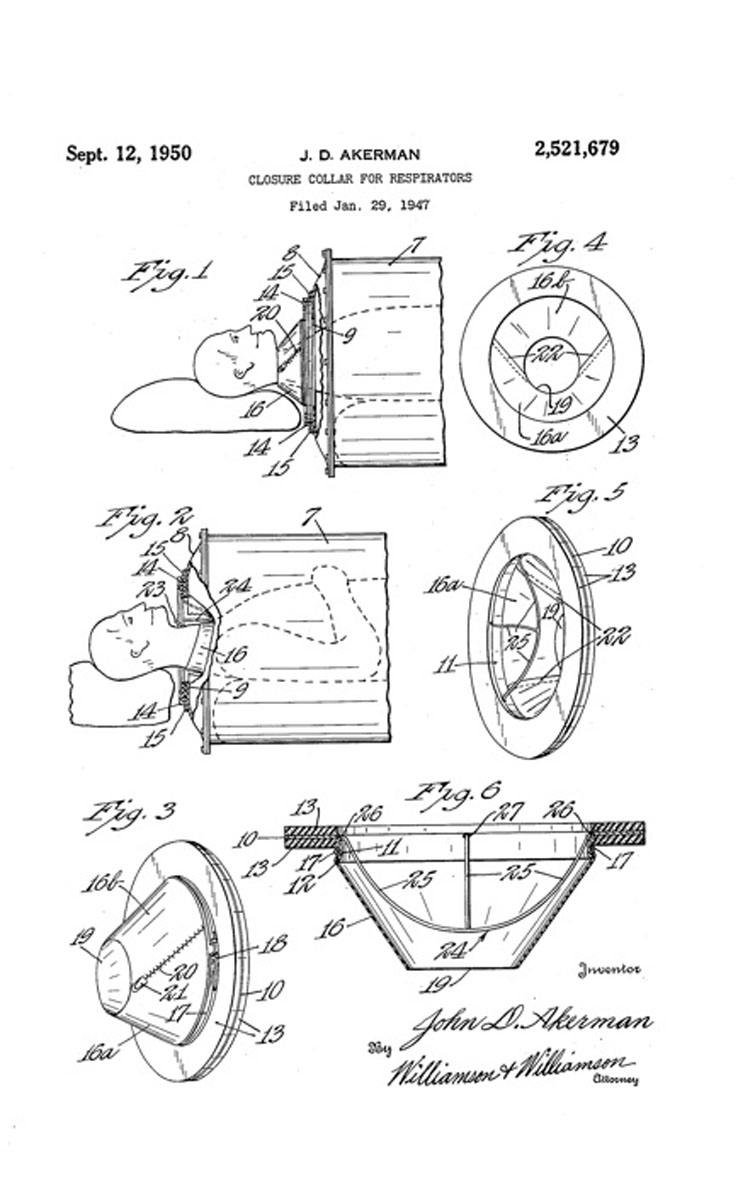 1950 Patent for Lung Collar