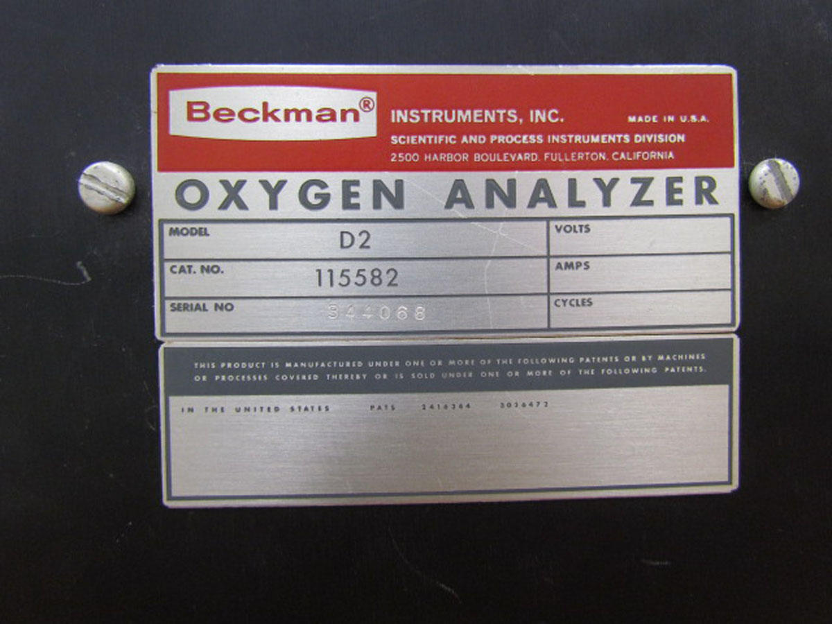 1950s Beckman Instruments Identification Plate