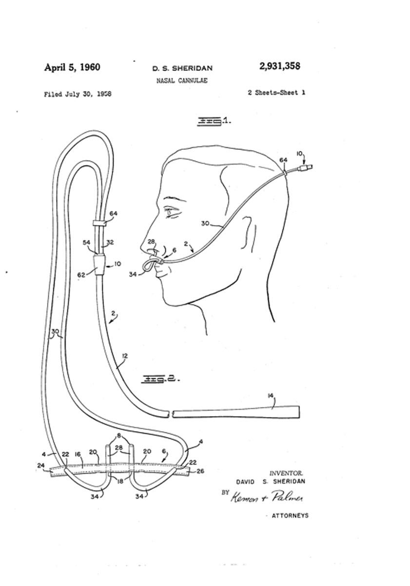 1960 Sheridan's Nasal Cannula Patent