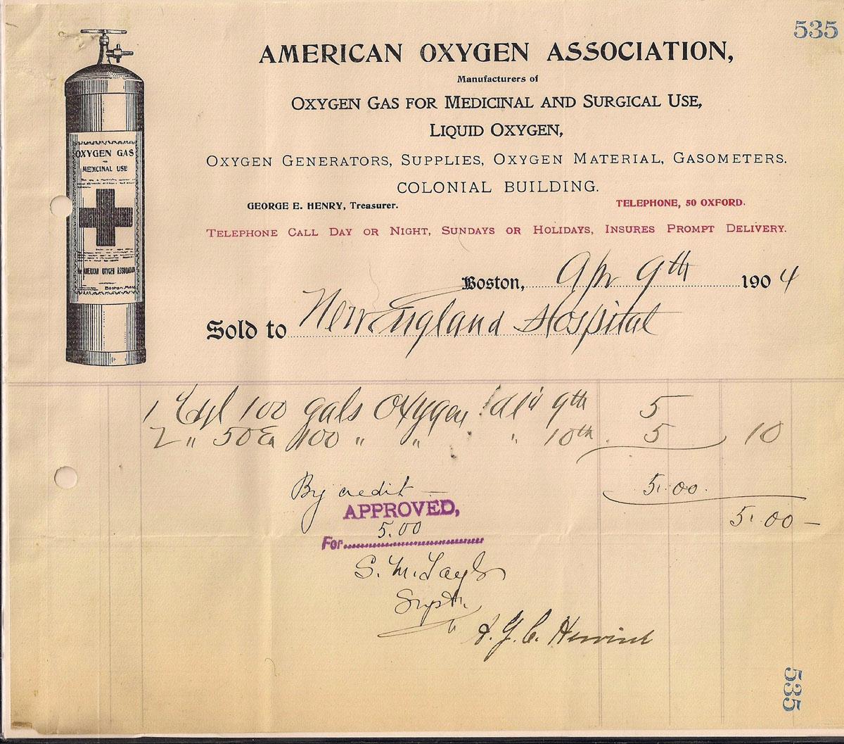 1904 Receipt for Oxygen