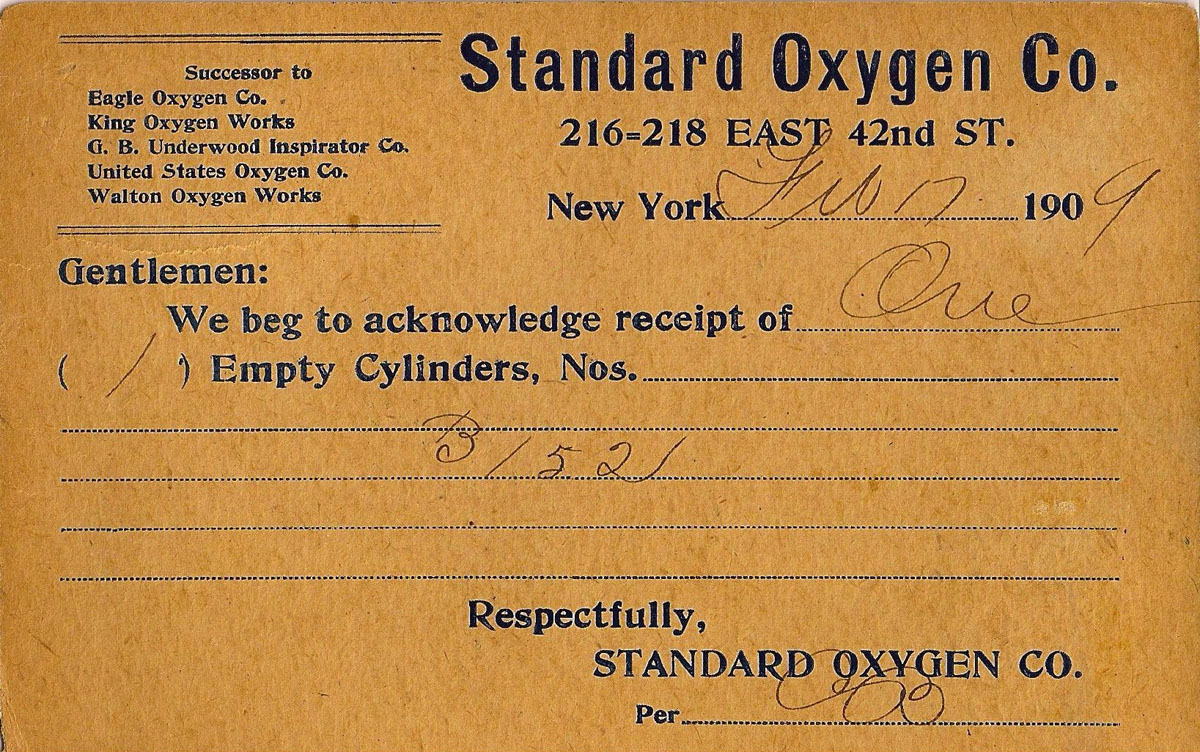1909 Receipt for Empty Cylinder