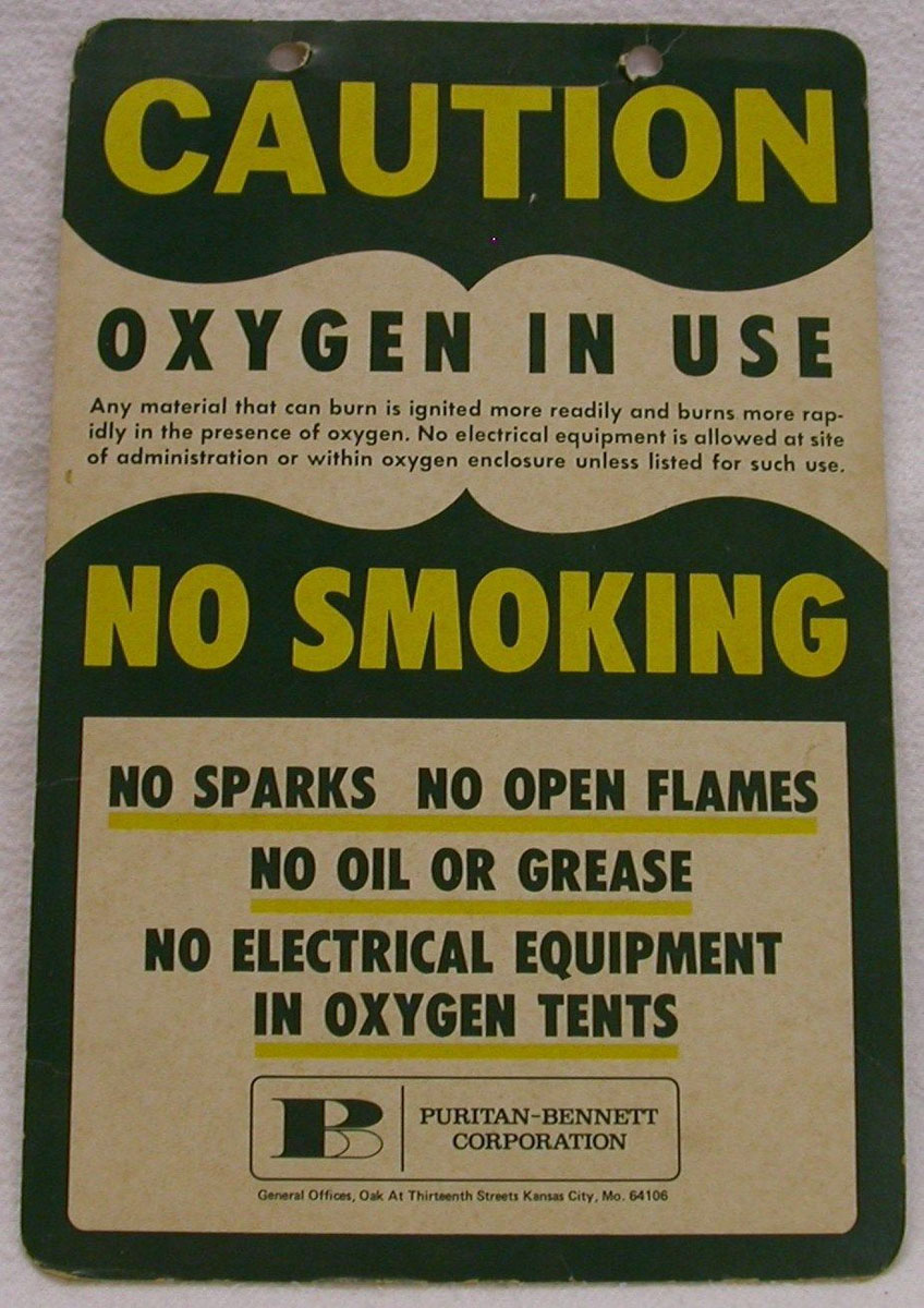 Pre-1994 No Smoking-Oxygen in Use Sign