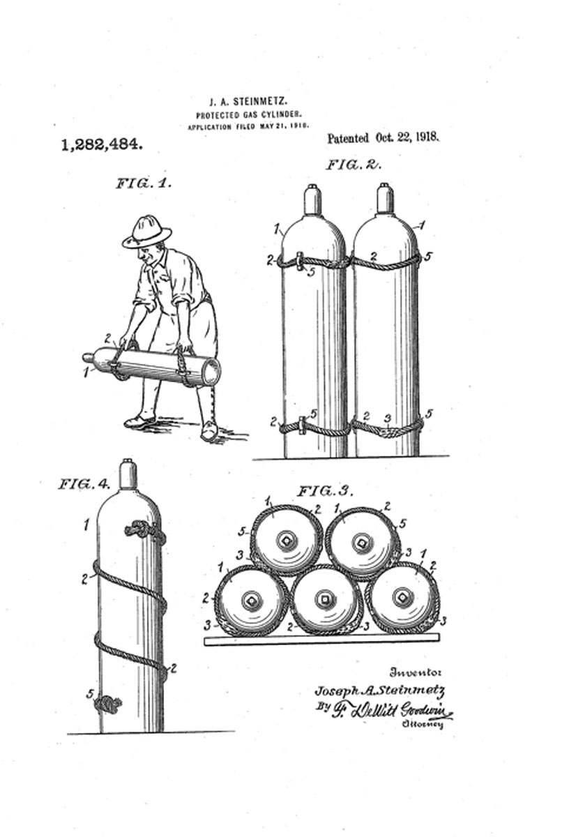 1918 J.A. Steinmetz's Patent for Protected Gas Cylinders