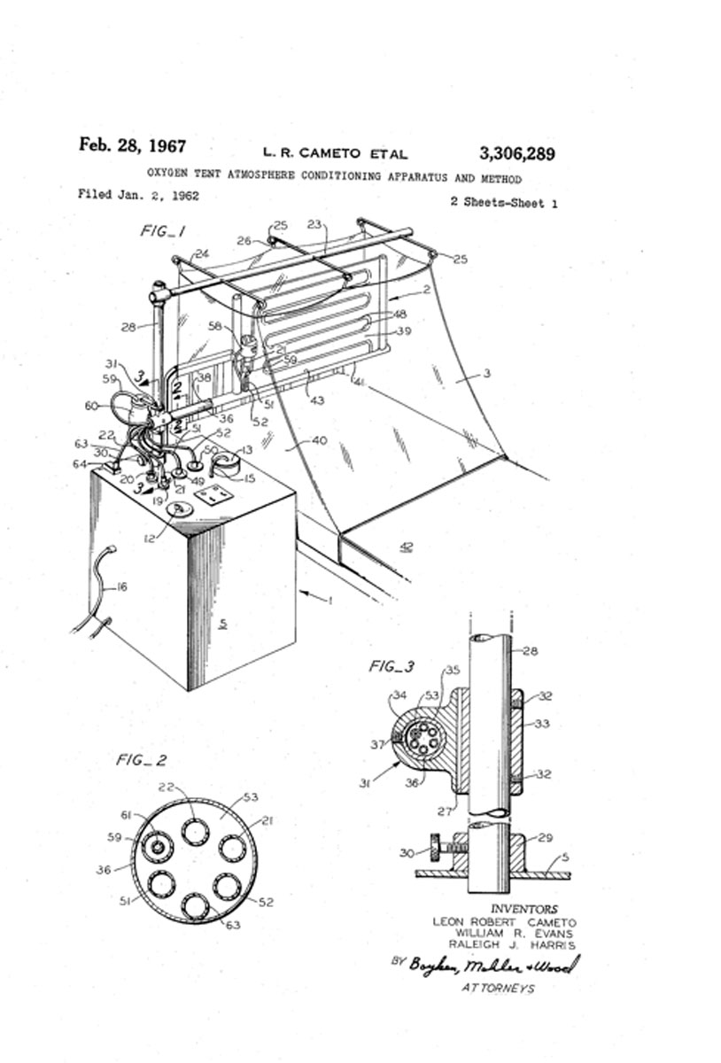 1967 Cameto's Oxygen Tent Patent