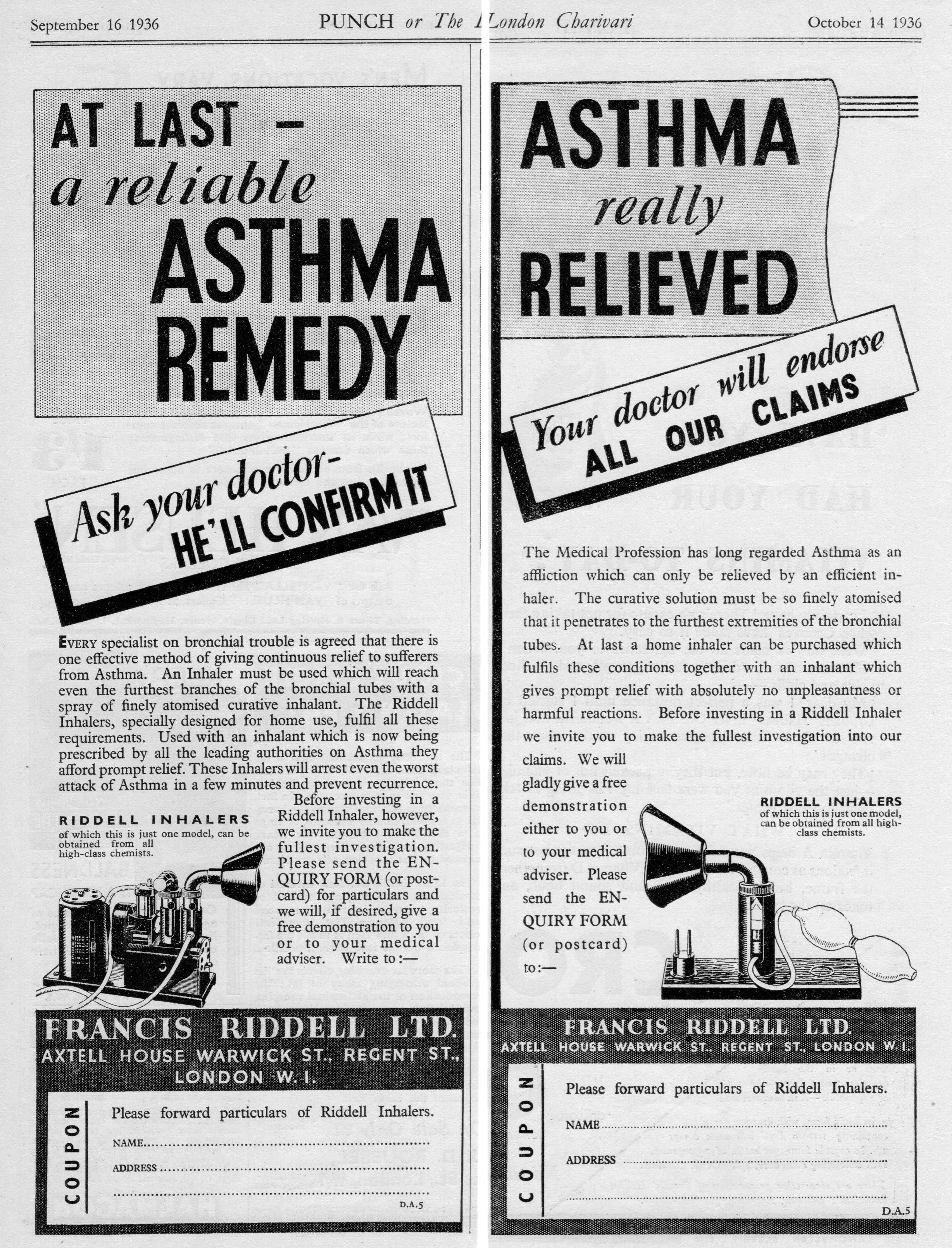 1936 Riddell Inhaler ad