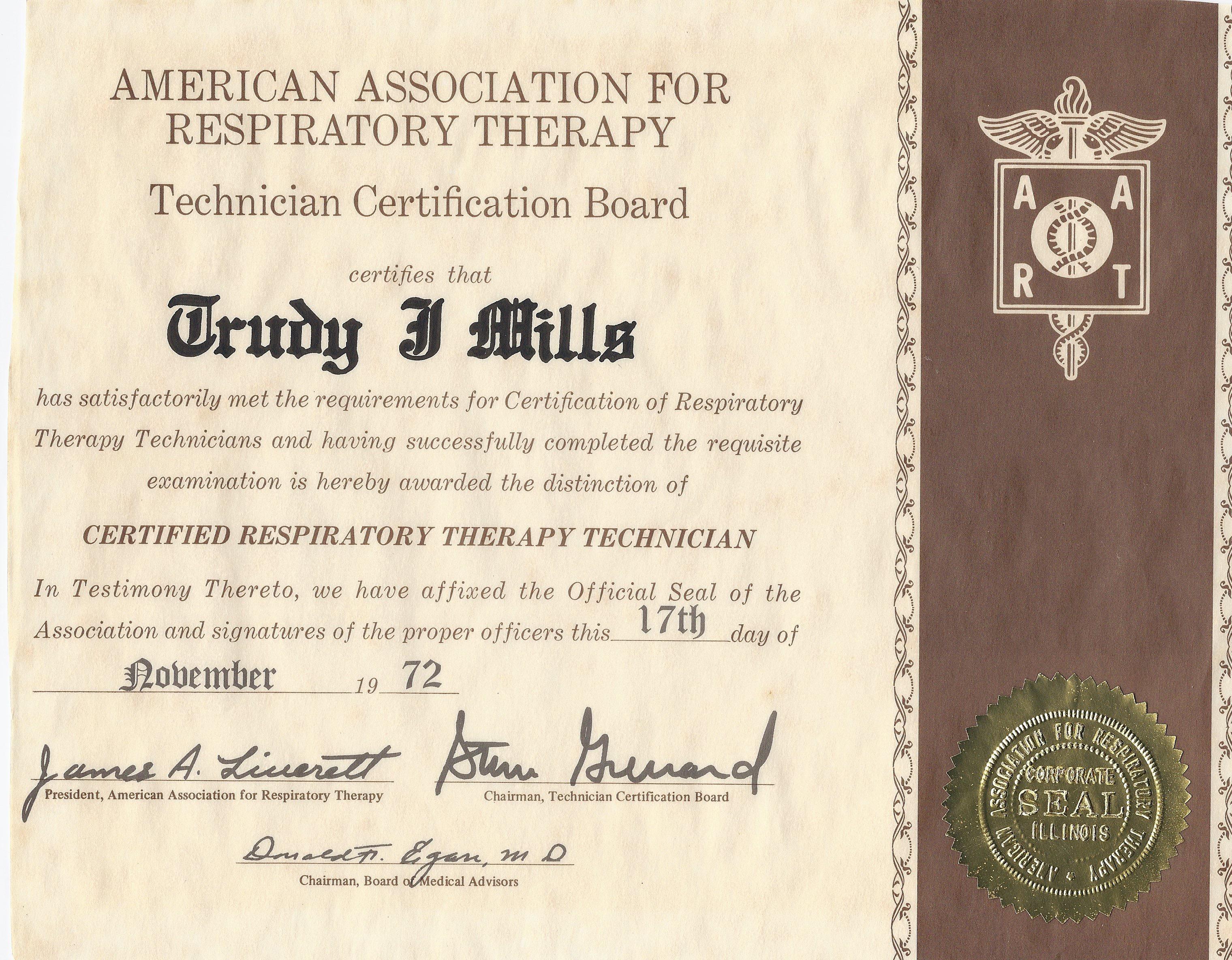 TCB CRTT Certificate