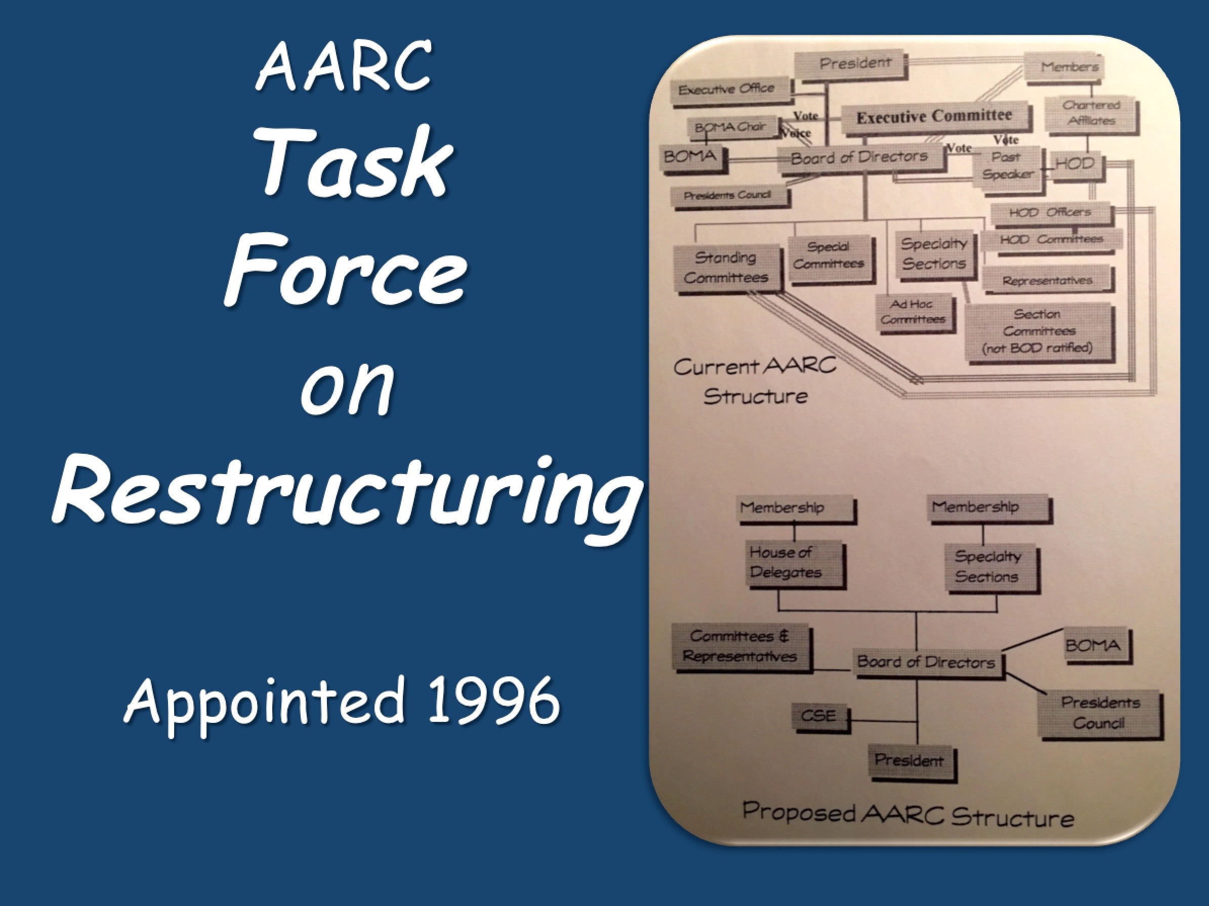 1996 Task Force on Restructuring Appointed