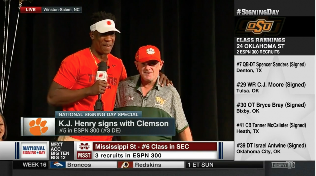 KJ Henry Signs with Clemson University