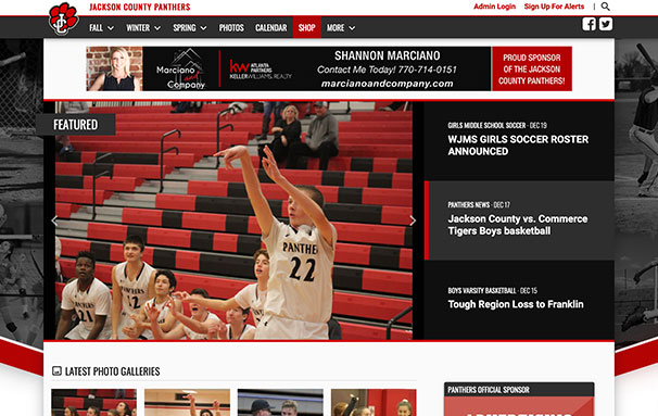 Screenshot of the jcpantherathletics.com home page