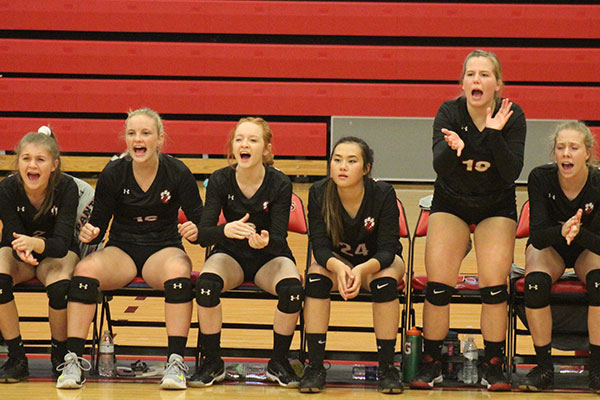 The Jackson County Panthers Girls Volleyball Team Yells encouragement from the Bench as a Play Happens in front of them