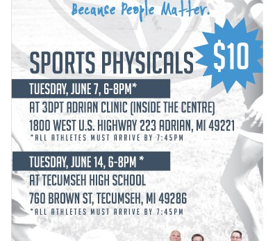 Sports Physicals June 14th