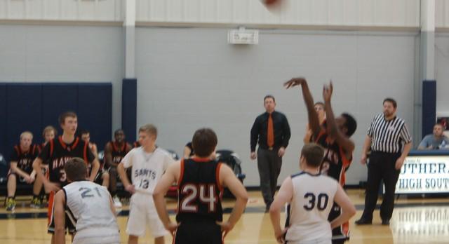 Huron Valley Lutheran High School Basketball Varsity Boys beats Lutheran High School South 56-41