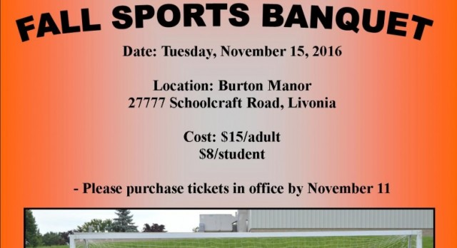 Fall Sports Banquet – Tuesday, November 15 – 6:30