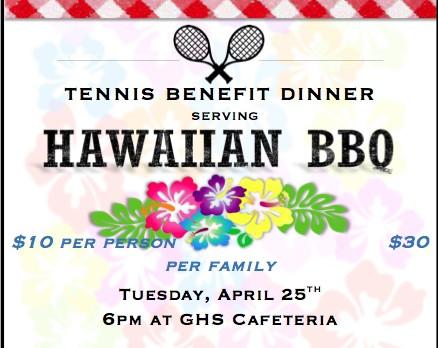 Tennis Benefit Dinner April 25th