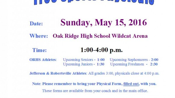 May 15Th - Free Sports Physicals For Upcoming & Returning Orhs